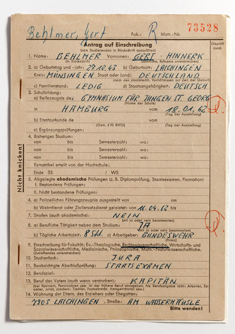 Enrollment card for Dirk Albers