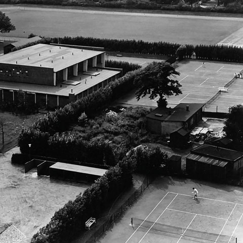 The former University tennis courts, around 1960.