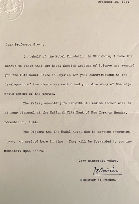 Letter from the Nobel Prize Committee to Otto Stern, which announced his honoring, 1944