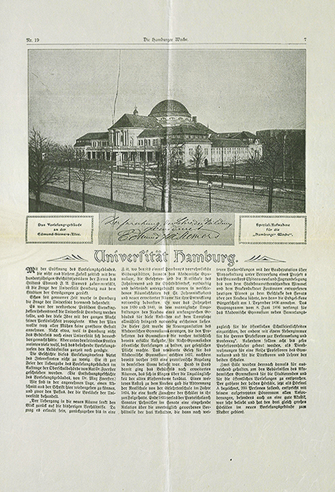 First page of a three-page article in the Hamburger Woche, 1911, facsimile