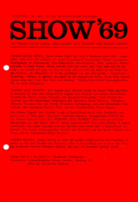 Flyer from Show 69, a concert in the audimax.