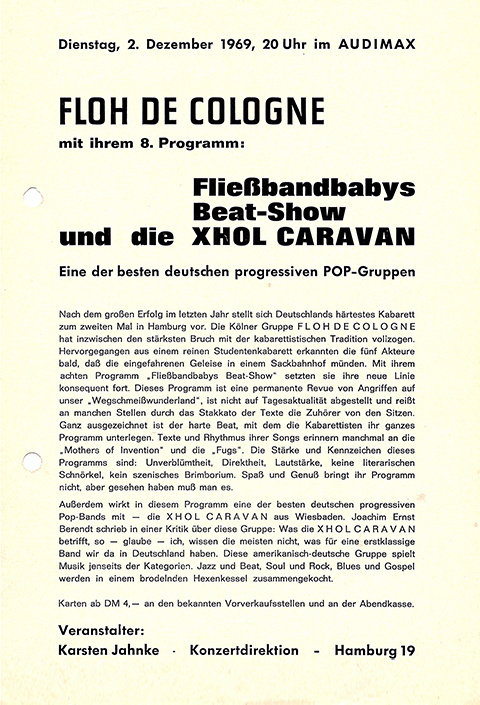 Flyer from a Floh de Cologne concert at the audimax in 1969.