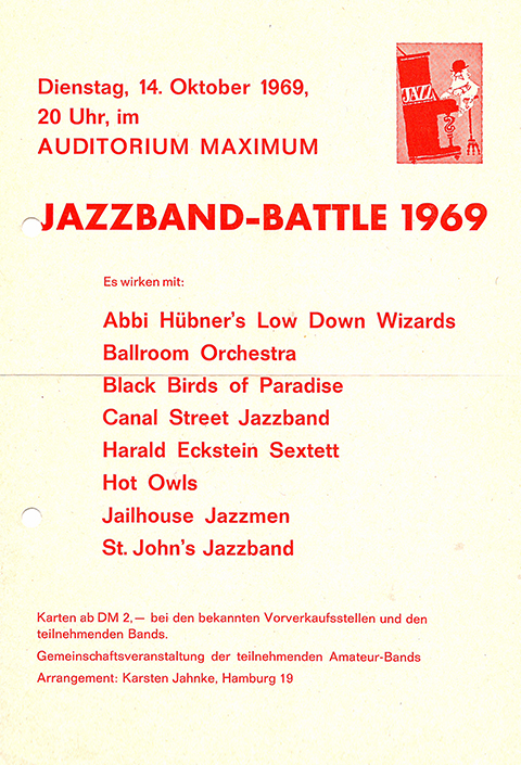 Flyer from Jazz-Band-Battle at audimax in 1969.