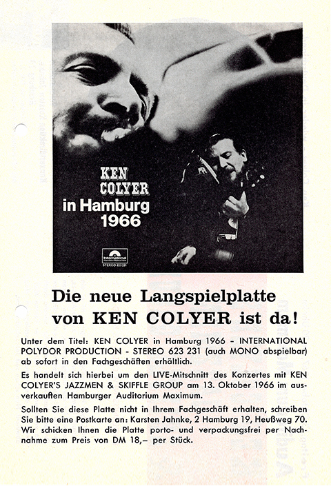 Advertisement for a records from a Ken Colyer concert.