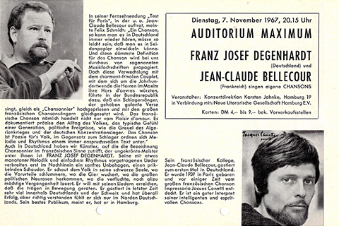 Flyer from a concert by Franz Josef Degenhardt und Jean-Claude Bellecour