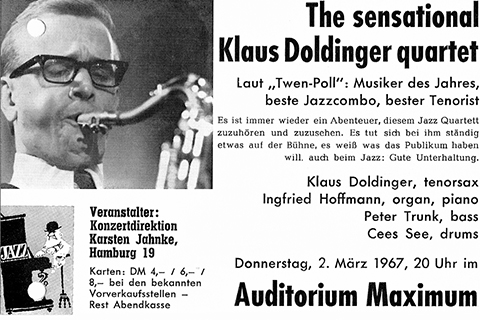 Flyer from Klaus Doldinger quartet