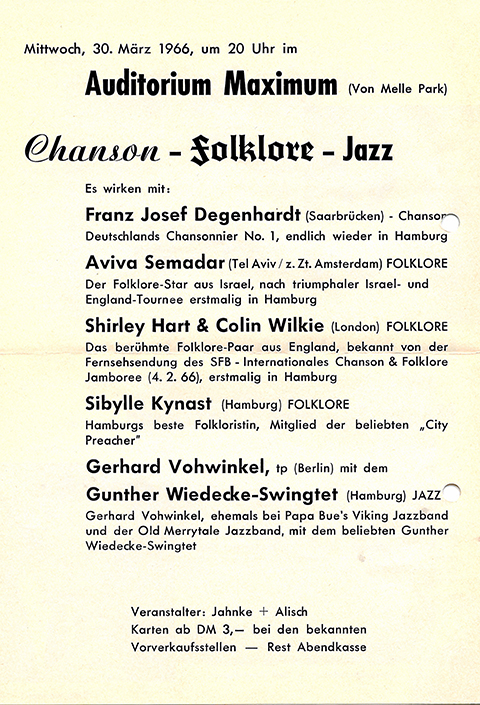 Flyer from a Jazz and folk concert.