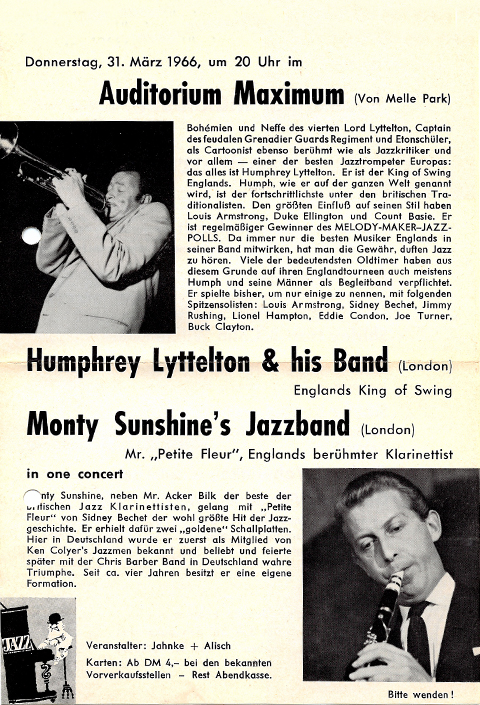 Flyer from concerts by Humphrey Lyttelton und Monty Sunshine with bands.