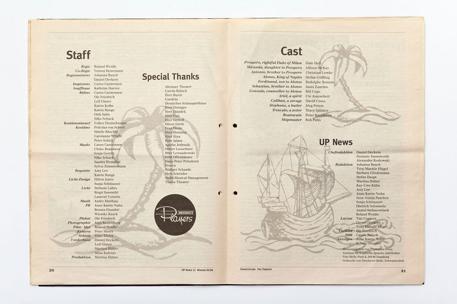 Page of the University Players News, No. 21 for the the production of The Tempest by William Shakespeare with the names of all the involed people