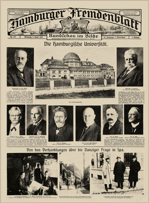 Extensive report on the opening of the University in a supplement of the Hamburger Fremdenblatt on 9 April 1919