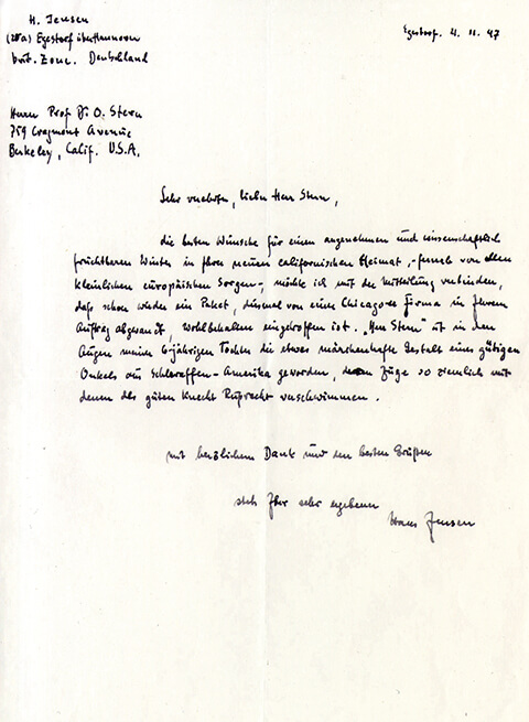 Thank-you letter from Hans Jensen to Otto Stern  for a care package, 1947