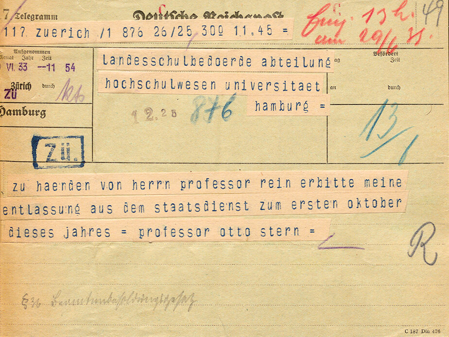 Telegram from Otto Stern, sent from Zürich on 29 June 1933. Request for dismissal.