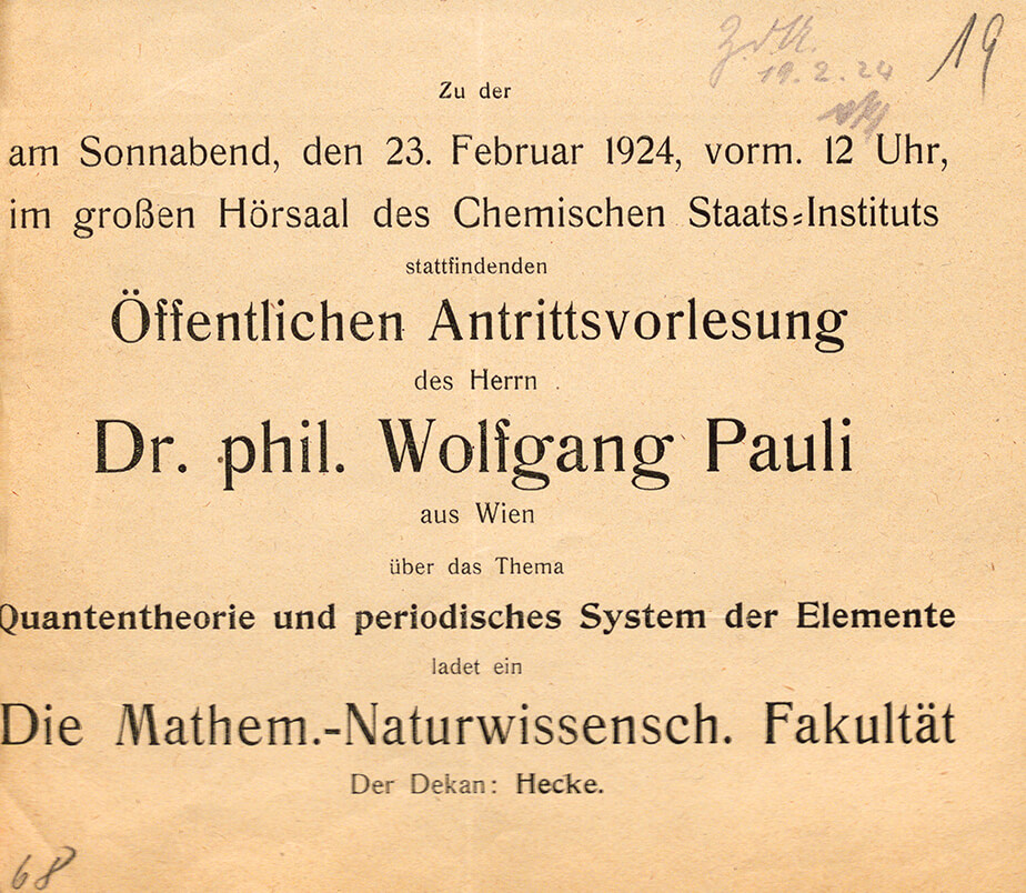 Announcement for Wolfgang Pauli's inaugural lecture, 23 February 1924