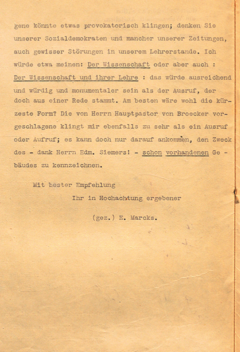 Letter from senior government aide Max Förster to Prof. Erich Marcks, 1910, facsimile